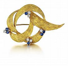 Dunay, 18kt Yellow Gold, Sapphire and Diamond Lady's Pin