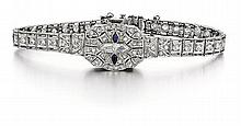 Art Deco Platinum, Diamond and Blue Sapphire Covered Case Lady's Wrist Watch