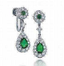 Cartier, Platinum, Emerald and Diamond Lady's Earrings