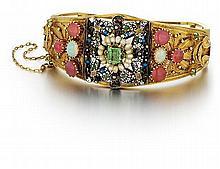 14kt Yellow Gold and Gemstone Lady's Bangle Bracelet