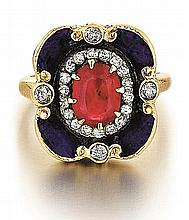 14kt Yellow Gold, Ruby, Blue Enamel and Diamond Lady's Ring