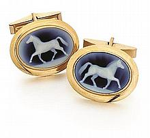 14kt Yellow Gold and Hardstone Cameo Cufflinks, Pair