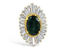 14kt Yellow Gold, 6.35ct Natural Emerald and Diamond Lady's Ring