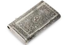 Russian, Niello Silver and Diamond Cigarette Case