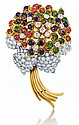 18kt Yellow Gold, Platinum, Blue Sapphire, Emerald, Ruby and Diamond Lady's Floral Brooch, L.2 7/8