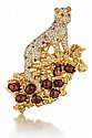 14kt Yellow Gold, Ruby and Diamond Lady's Panther Brooch
