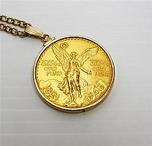 Mexican Gold Coin Pendant and 14kt Yellow Gold Neckchain