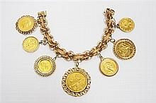 Yellow Gold Coin Charm Bracelet