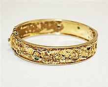18kt Yellow Gold, Sapphire, Ruby and Emerald Lady's Bracelet