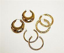 14kt Yellow Gold Lady's Hoop Earrings, 3 Pair