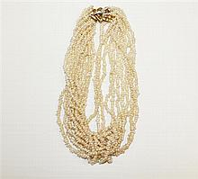14kt Yellow Gold, Diamond and Pearl Lady's Necklace