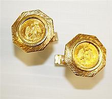 14-21kt Yellow Gold Gent's Cufflinks, Pair