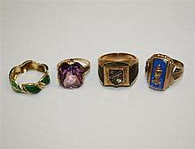 10kt Yellow Gold Rings, 4pc.