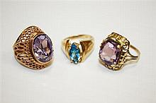 14kt Yellow Gold and Colored Stone Ring Grouping, 3pc