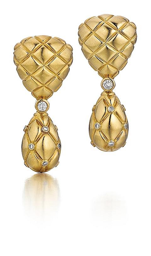 Van Cleef & Arpels, French, 18kt Yellow Gold and Diamond Earrings, Pair