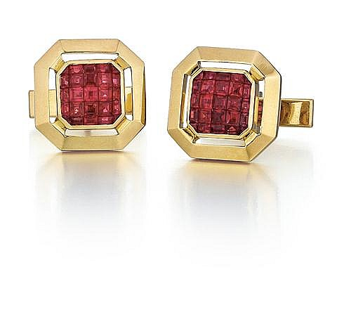 18kt Yellow Gold and Ruby Cufflinks, Pair