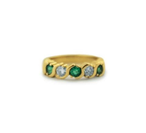 14kt Yellow Gold, Emerald and Diamond Lady's Ring