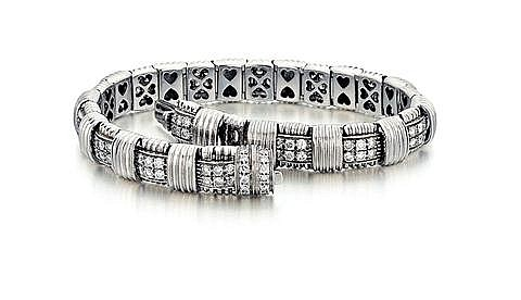Roberto Coin, 18kt White Gold, Diamond and Ruby Lady's Bracelet, L. 7
