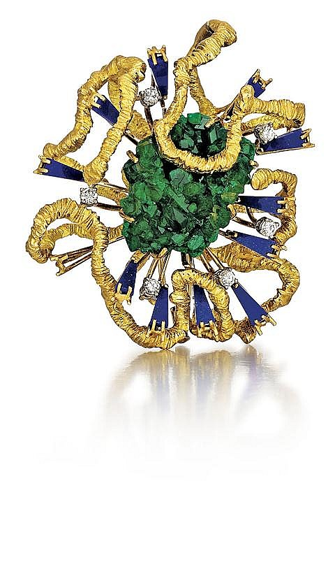 18kt Yellow Gold, Emerald, Lapis and Diamond Lady's Brooch