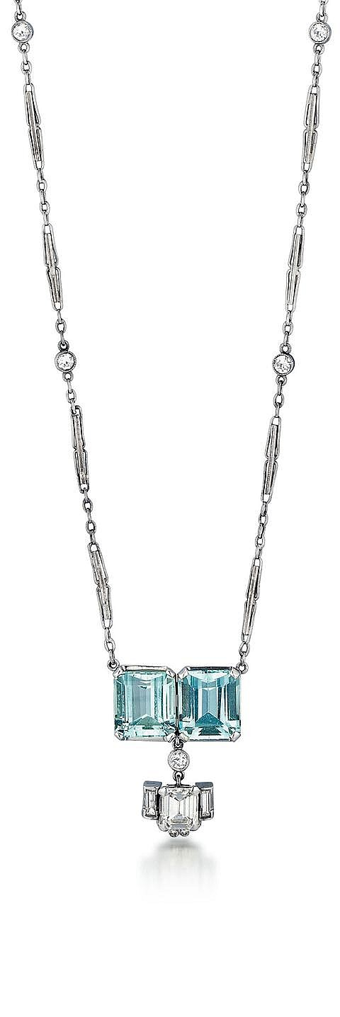 14kt White Gold, Aquamarine and Diamond Lady's Necklace