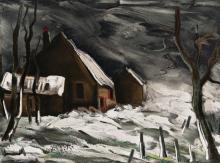 (After) Maurice Vlaminck La Maladrerie Sous la Neige 1958 Lithograph Framed