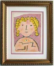 Paul Klee 1938 Portrait of a Child Original Lithograph Framed