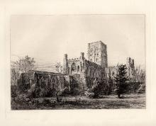 Ernst George St Albans Abbey 1876 Original Etching