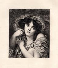 (After) Jean-Baptiste Greuze by Damman 1880s Portrait of a Girl Etching