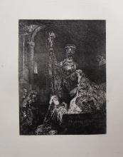 (After) Rembrandt Presentation in the Temple Antique Etching