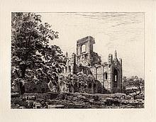 Toussaint Original Kirkstall Abbey 1882 Etching
