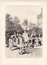 Adolphe Lalauze Etching 1800s Tuileries