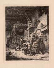 Adrian van Ostade etching 1800's