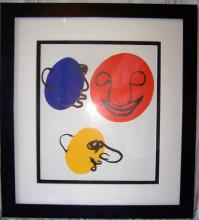 Alexander Calder Lithograph Framed Faces