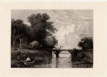 Callcott Wooden Bridge Etching 1800s