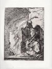 Rembrandt Peter & John at the Temple etching