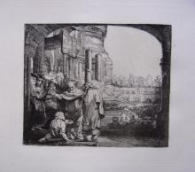 Rembrandt Peter and John healing Antique etching