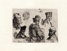 Rembrandt Sheet of Studies Men etching