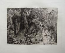 Rembrandt St Francis beneath a Tree etching