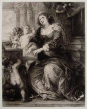 Rubens St Cecilia etching Antique