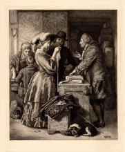 William Mulready Wedding Gown Etching 1800s