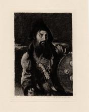 William Etty Etching Persian Warrior 1800s