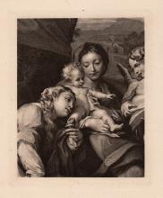 Correggio Madonna Antique engraving 1800's