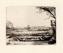 Rembrandt Canal with Boat etching 1800's