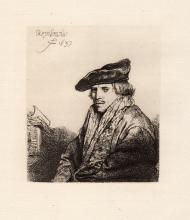 Rembrandt Man wearing cap etching