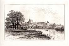 Edward Hull Windsor Castle Antique Etching 1800s