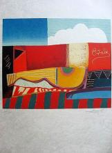 Max Papart Guitar Lithograph Signed