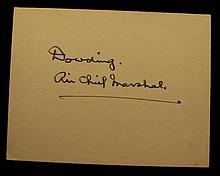 British Air Chief Hugh Dowding Autographed