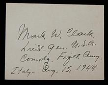 Lt General Mark Clark SGC Authenticated