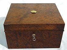 A Fine Early Birds Eye Wood Locking Casket/Dresser Box