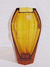 Early Moser Karlsbad Amber Glass Vase,Josef Hoffmann